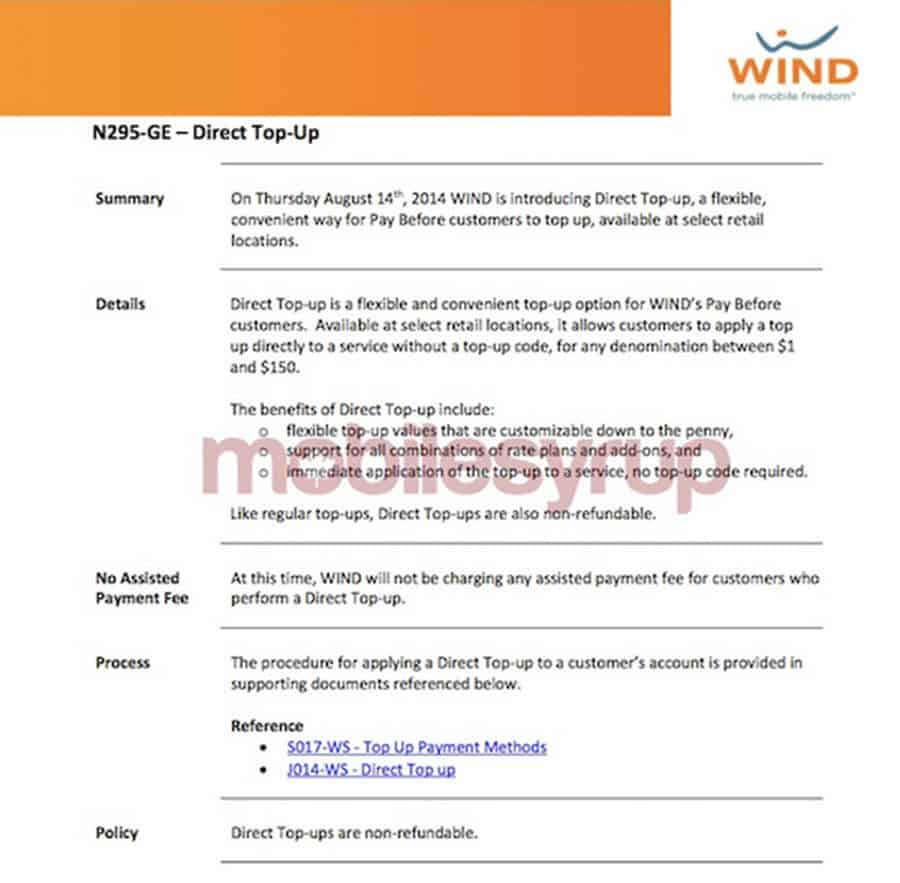 Wind Mobile Direct Top Up