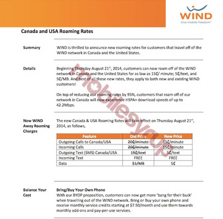 Wind Mobile Roaming Fee Chart 1