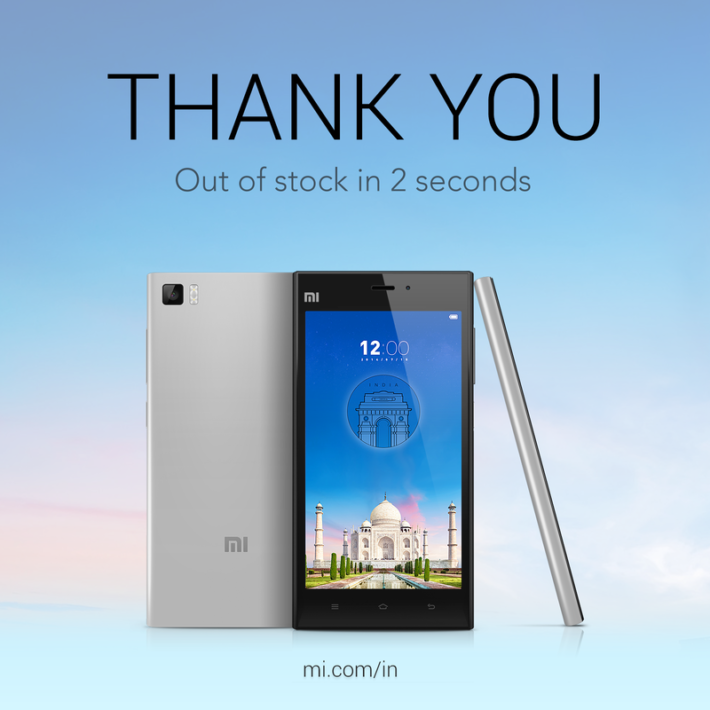 Takes Xiaomi 2 Seconds to sell 15,000 Mi 3′s