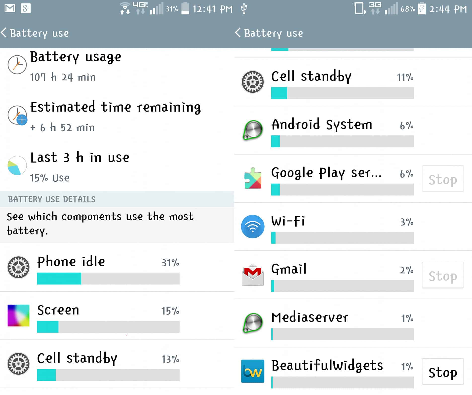 screenshot of battery usage
