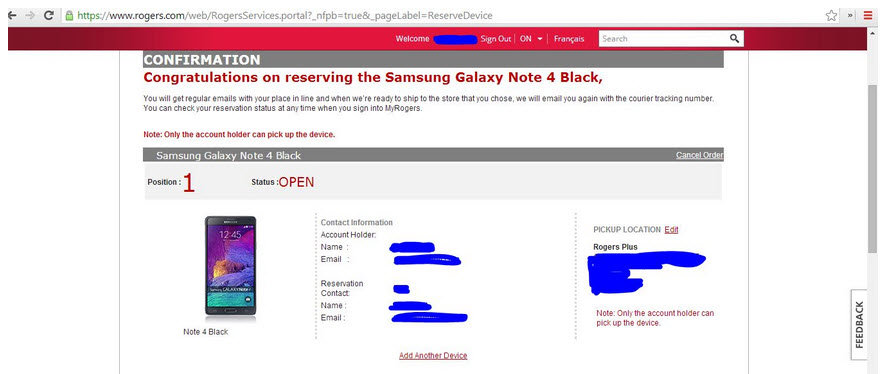 Galaxy Note 4 Reserved