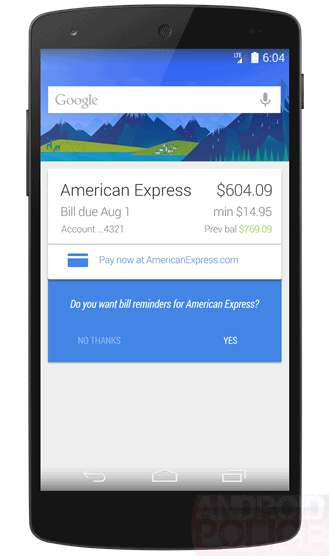 Google Bills Card Android Police Mock-up