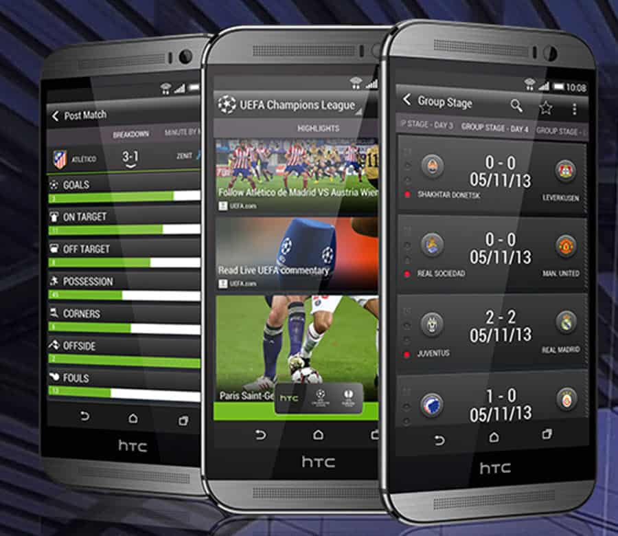 HTC One M8 UK UEFA Screens