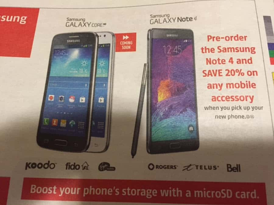 Note 4 Canadian Ad