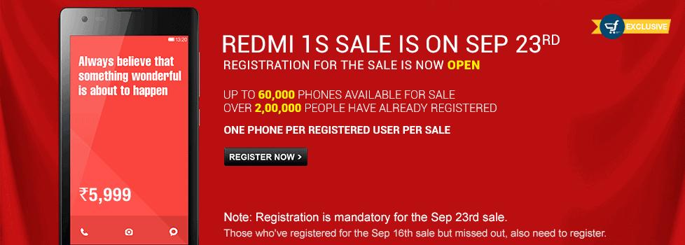 Redmi 1S sale September 23rd