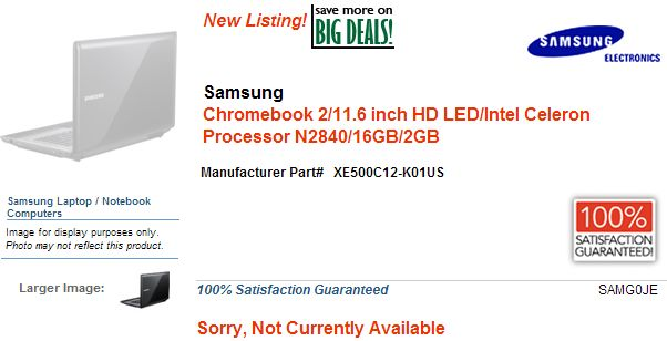 Samsung Chromebook 2 Bay Trail listing leak