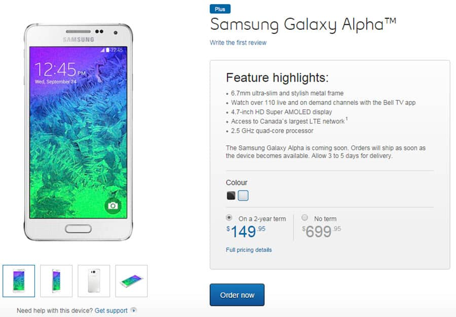 Samsung Galaxy Alpha on Bell