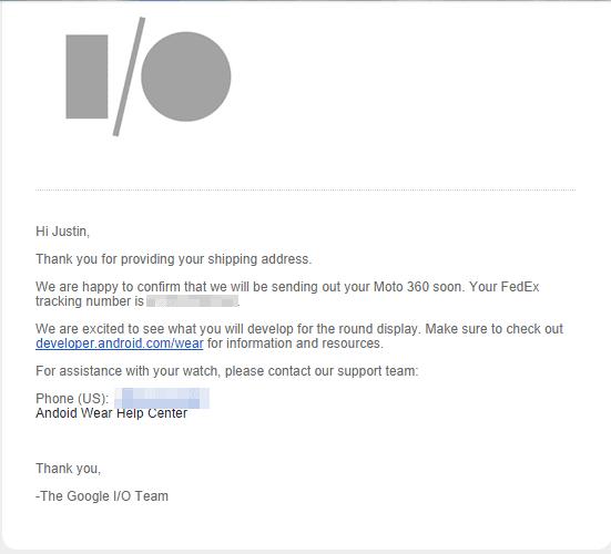 I/O Moto 360 email