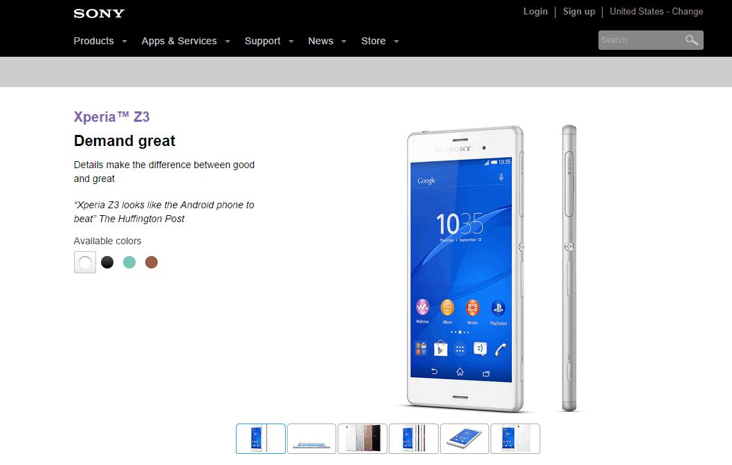 Xperia Z3 webpage