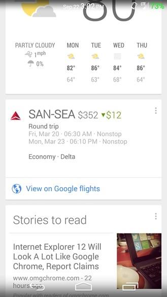 Google Now te avisará si el precio de tu vuelo cambia