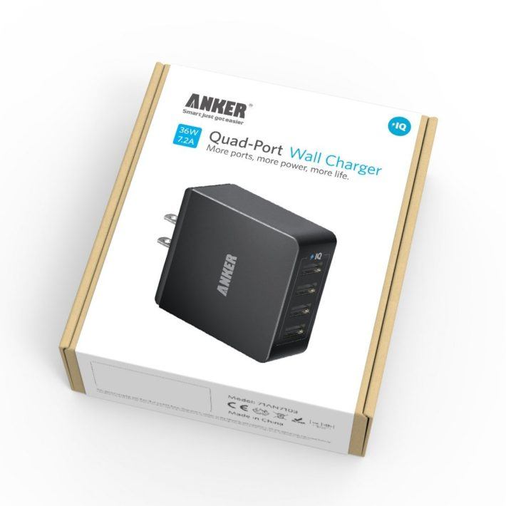 Deal: Anker 36W 4-Port USB Wall Charger Travel Adapter – $19.99