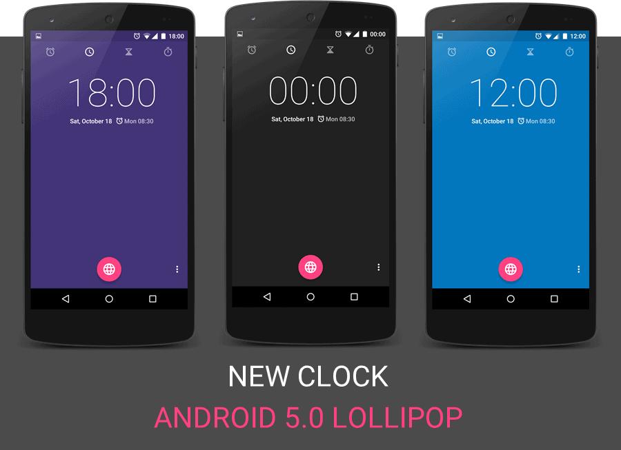 Android 5.0 Lollipop Clock