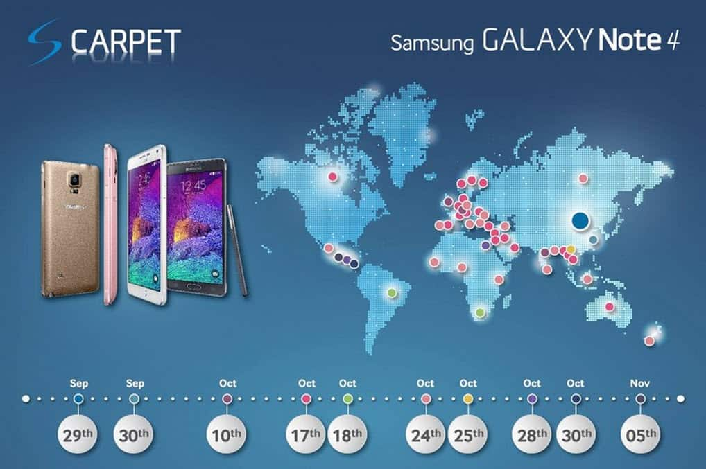 Galaxy Note 4 Launch Dates FB