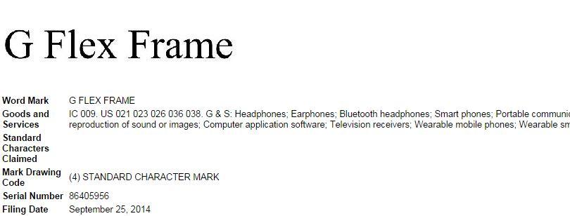 LG G Flex Frame trademark