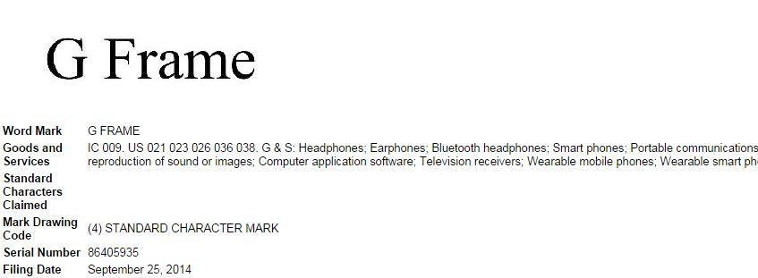 LG G Frame trademark