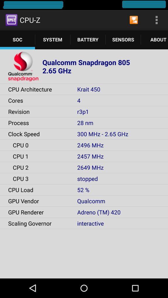 Nexus 6 CPU Z leak 1
