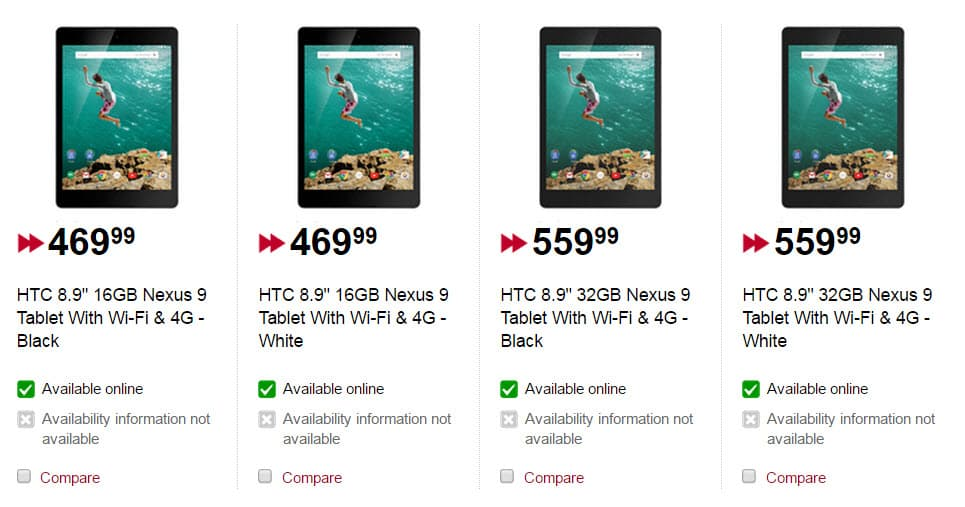 Nexus 9 Pricing