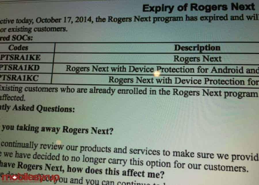 Rogers Next Progarm Canceled