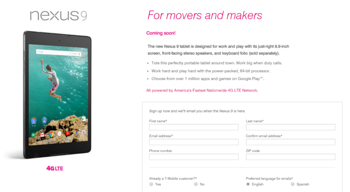 T-Mobile Will Be Carrying The LTE Nexus 9 And You Can Pre-Register For It Now