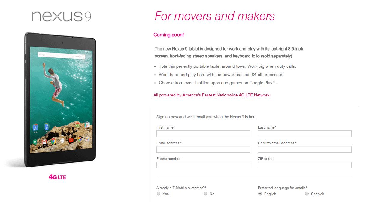 T-Mobile Pre-Register Nexus 9