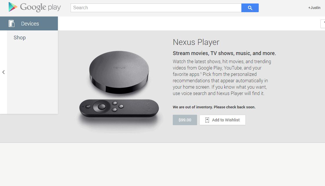Nexus Player Google Play