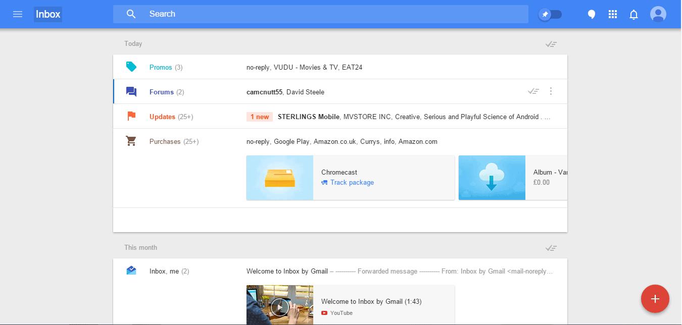 inbox categories