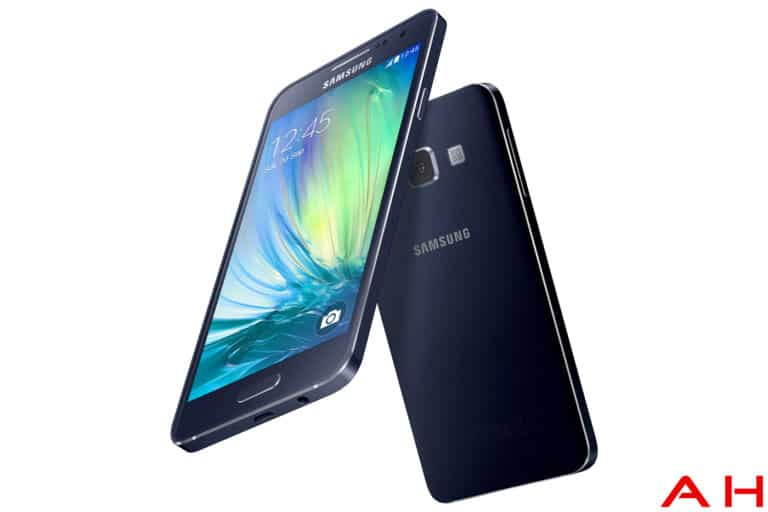 samsung galaxy A3 front and back angled