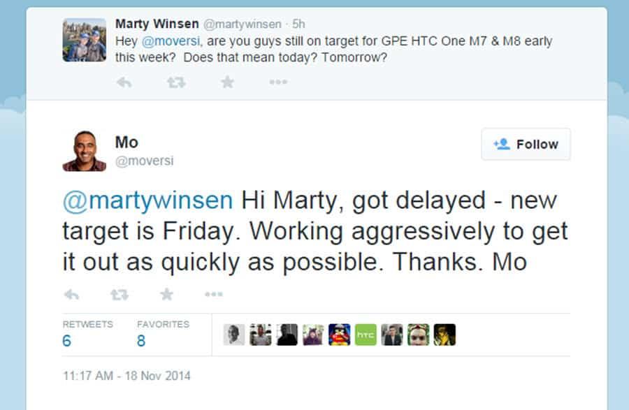 HTC GPE 5 Update Tweet