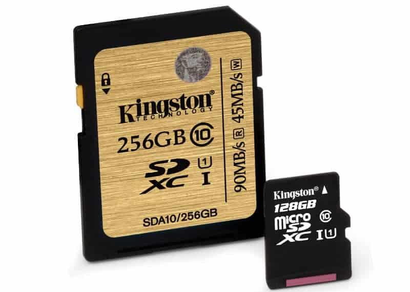 Kingston 128GB microSD and 256GB SDHC SDXC