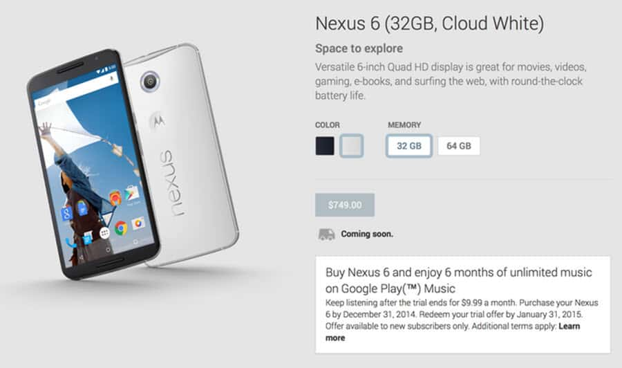 Nexus 6 in Play Store