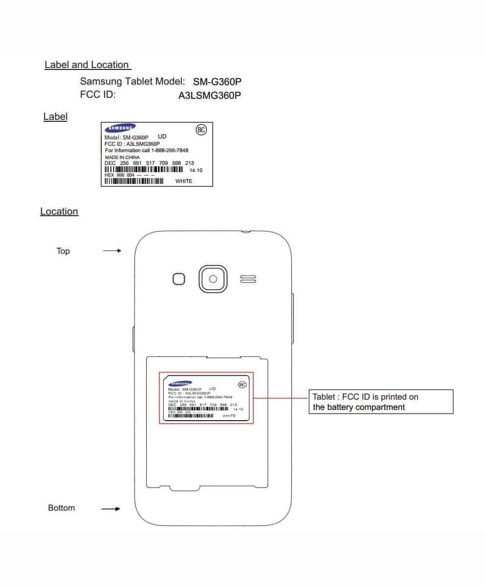 Samsung SM G360P FCC listing 1