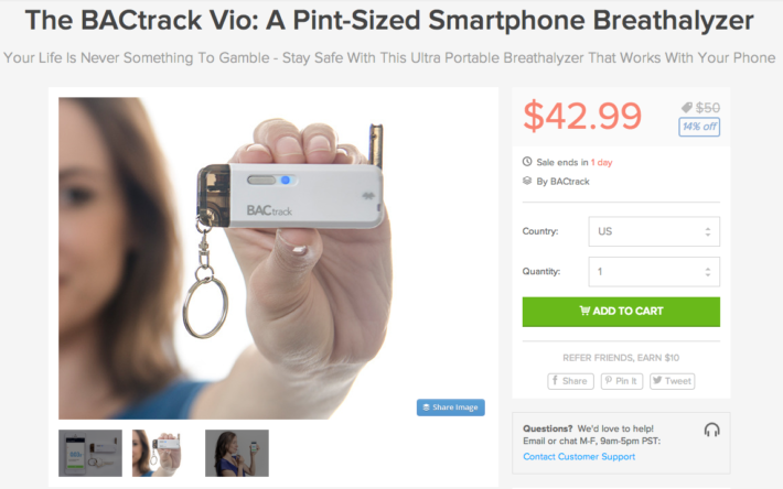 The BACtrack Vio Ultra Portable Breathalyzer can be yours for $43 + 10% off the Entire Android Headlines Store!