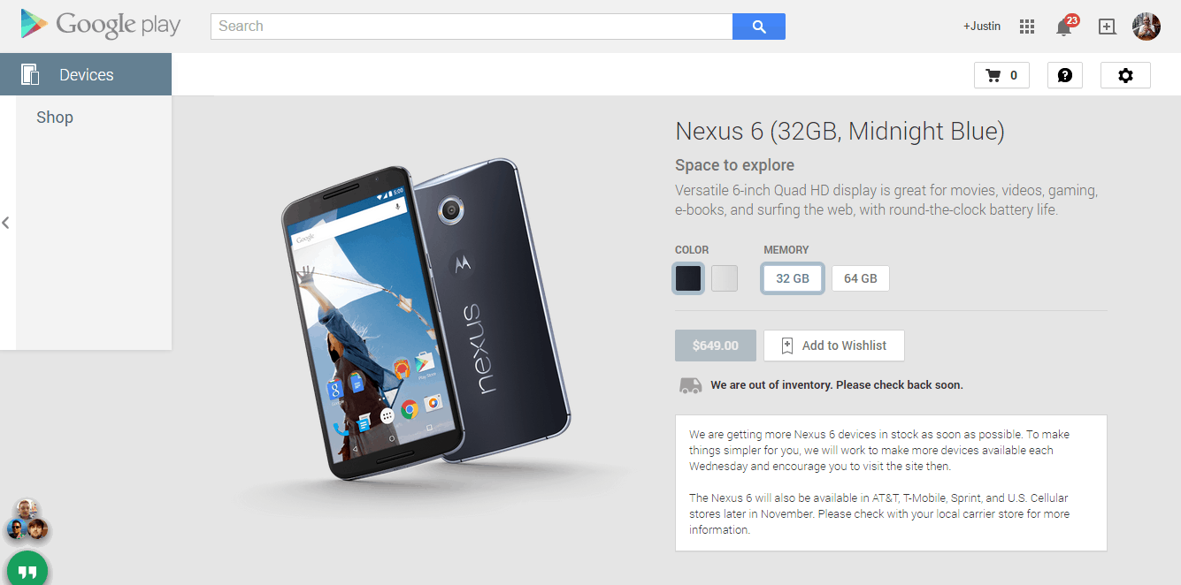 Nexus Google Play Page