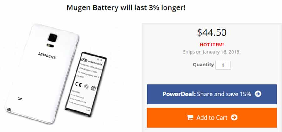 Galaxy Note 4 Mugen Battery