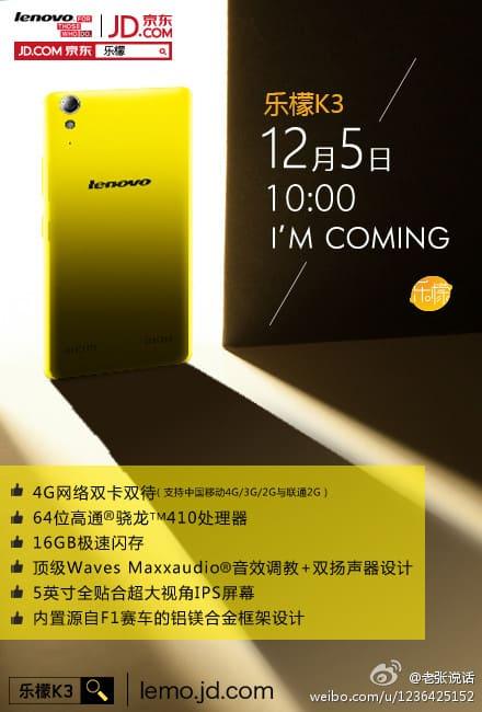 Lenovo K3 teaser