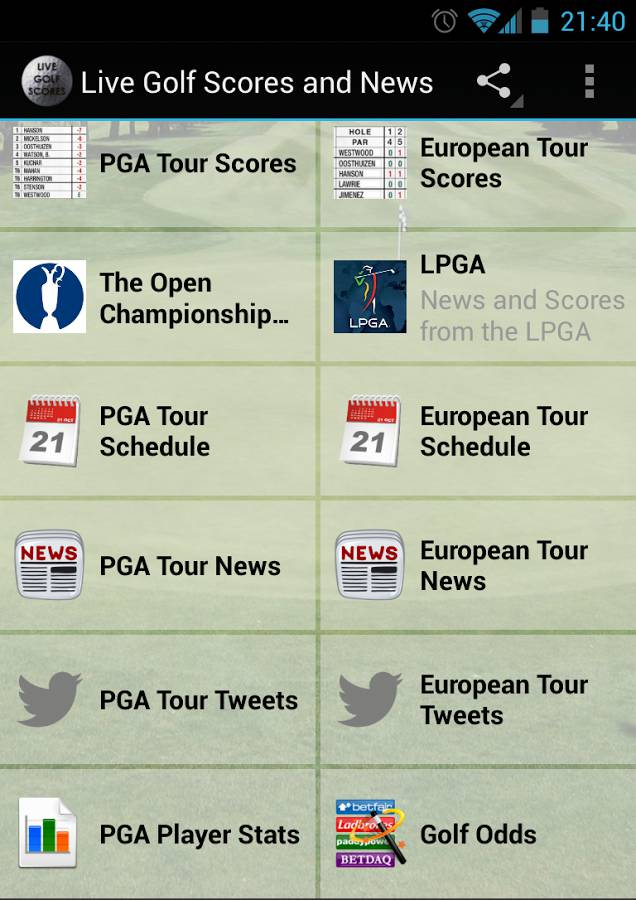 Live Golf Scores and News