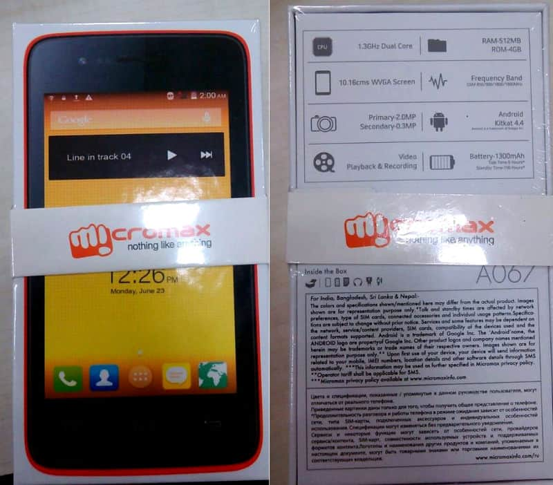 Micromax Bolt A067 retail packaging