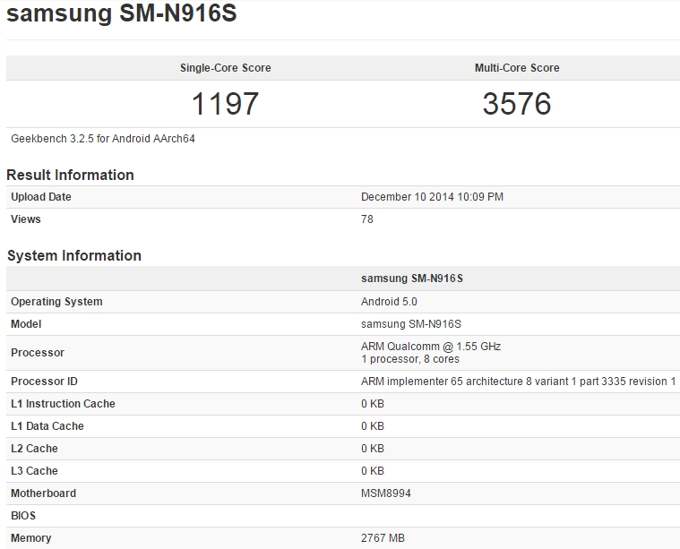 Samsung Galaxy Note 4 SM-N916S Geekbench leak