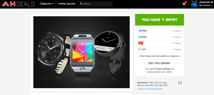 Enter to win a Moto 360, LG G Watch R, or a Samsung Gear 2!