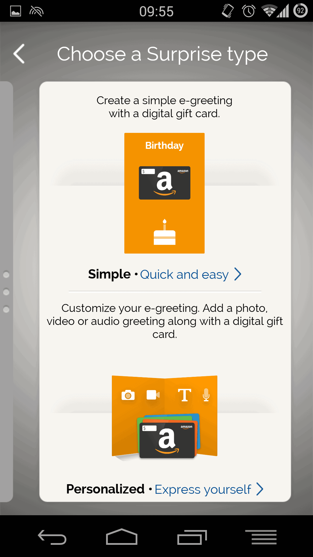 Amazon launch surprise by amazon app for easy gift card sending if you want to give the app a try then it is available via the play store and is currently free just in time for christmas huh kristyandbryce Choice Image