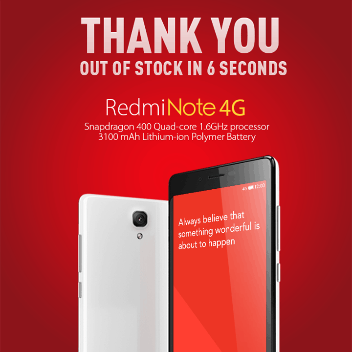 Xiaomi Redmi Note 4G sold out in 6 seconds in India
