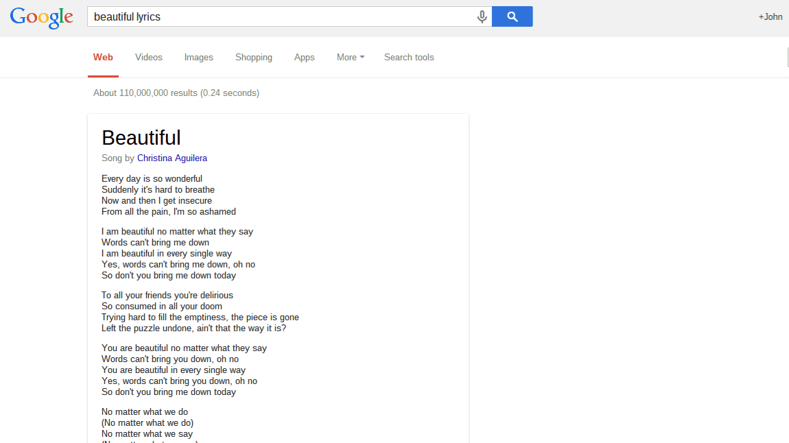 Google Adding Song Lyrics To Search Results With Link To Google ...