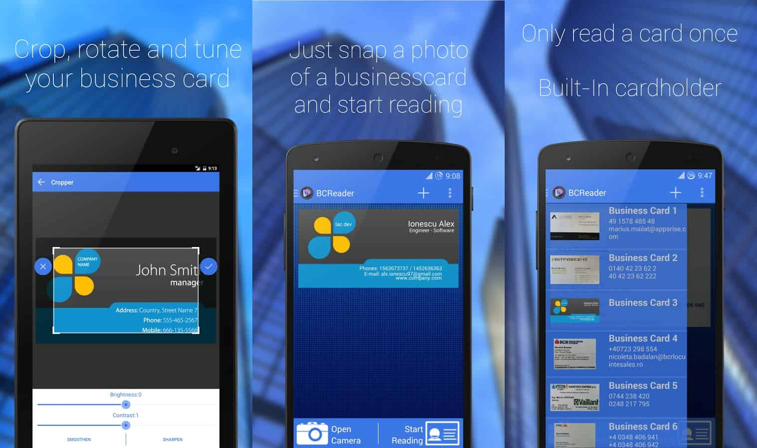 Featured top 10 business card scanner apps for android business card reader reheart Images