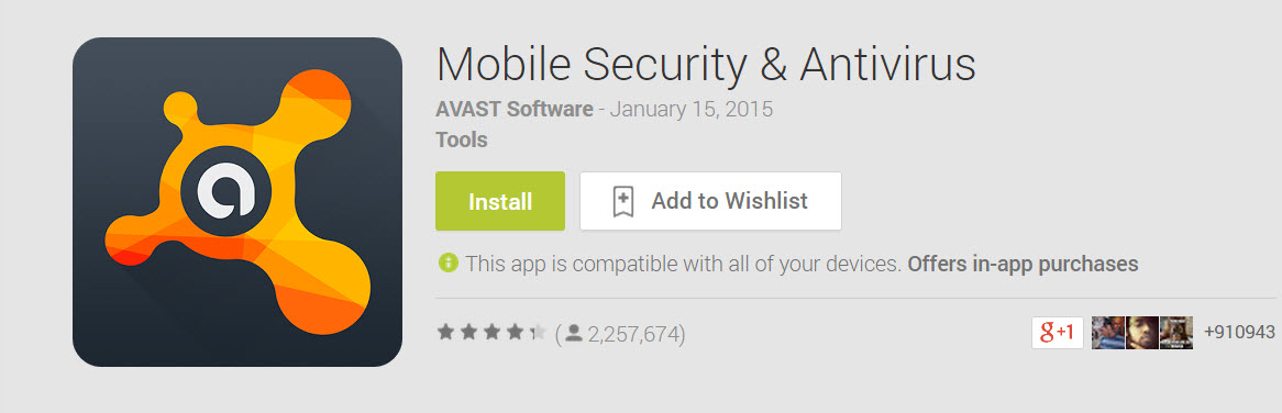 Avast Mobile Security Play Store