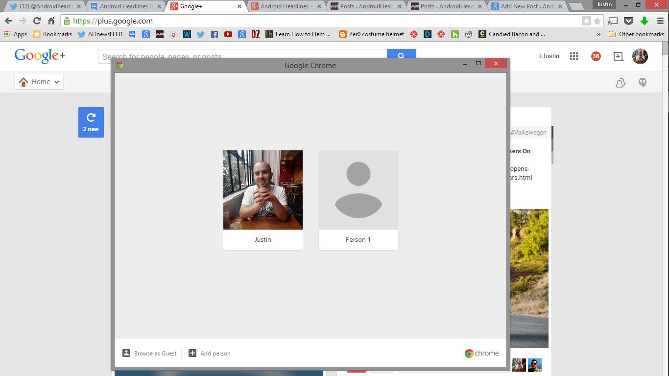 Chrome account switcher