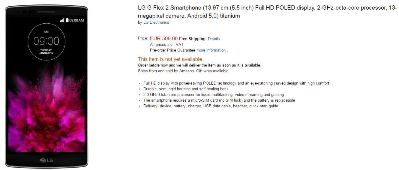 LG G Flex 2 Pricing