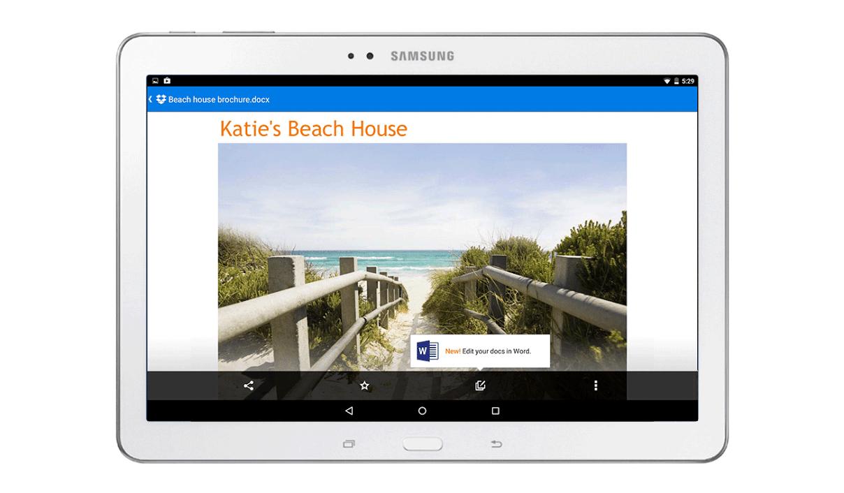 Dropbox Microsoft Android Tablet Screenshot