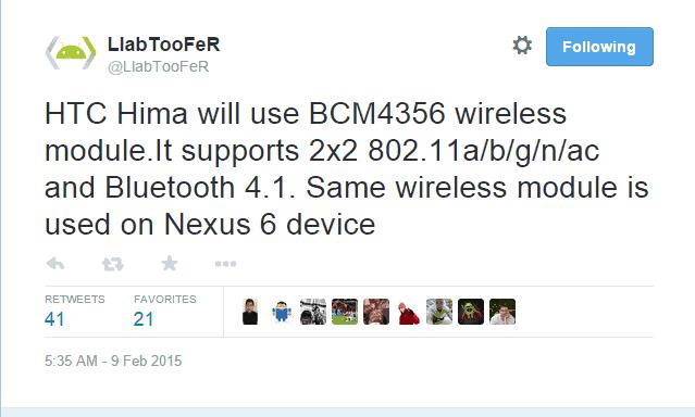HTC One (M9) Wireless Module Tweet
