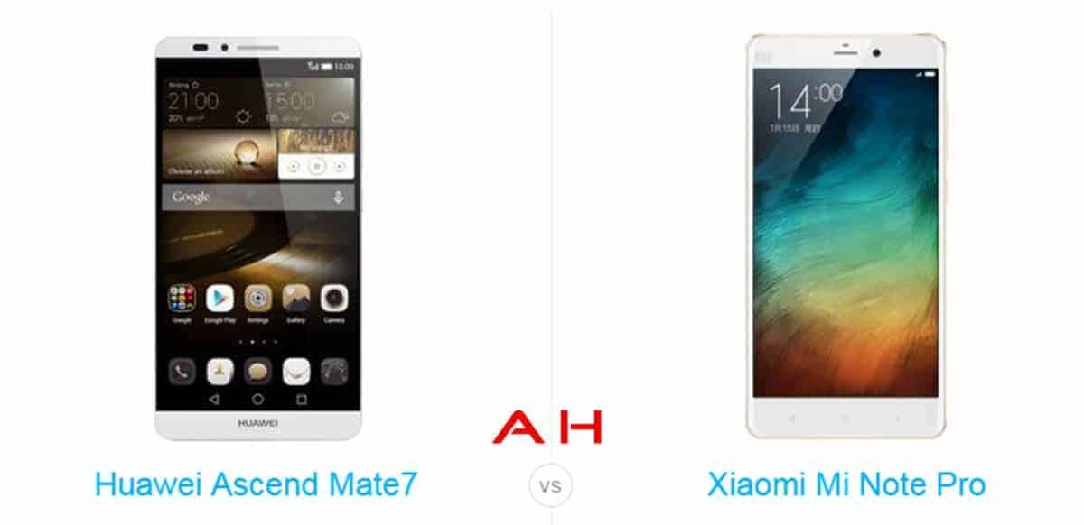 Xiaomi Mi Note Pro vs Ascend Mate 7 cam AH