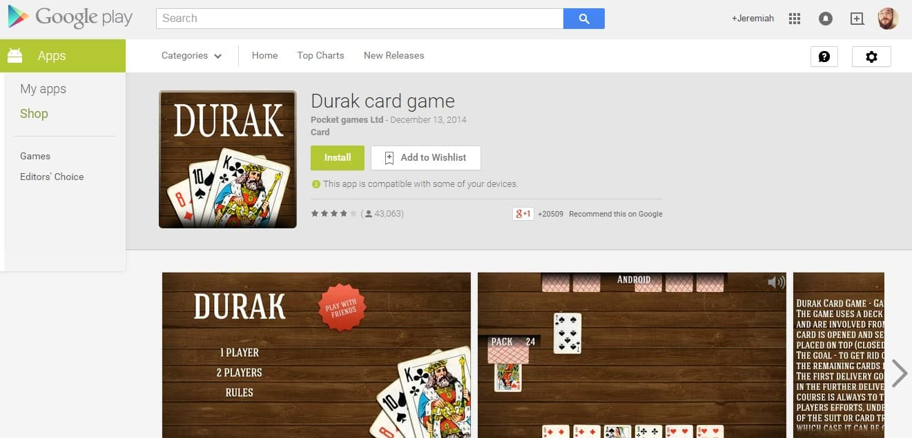 durak card game android malware